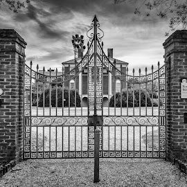 Robert Mills House, Columbia SC by Sabine Schnell - City,  Street & Park  Historic Districts ( olympus omd, iron work, histiric building, centered, getolympus, columbia sc, black and white )