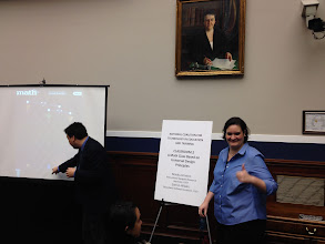 Photo: Garron Hillaire and Mindy Johnson teaching the congressional staffers about variables and algebraic reasoning using CAST's iSolveIt apps (http://isolveit.cast.org/).