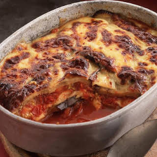 Layered Eggplant and Mozzarella Bake.