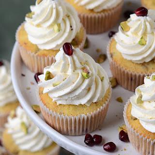 Pomegranate Pistachio Cupcakes with Greek Yogurt Buttercream.