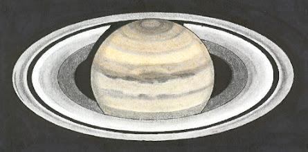 Photo: Saturne colorisée, vue dans le cassegrain 250 en bino à 350X. Date non notée.