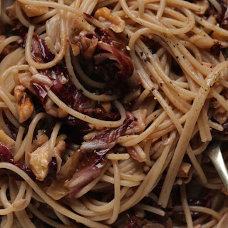Raddichio and Walnut Spaghetti