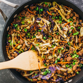 Ground Beef And Cabbage Stir Fry.