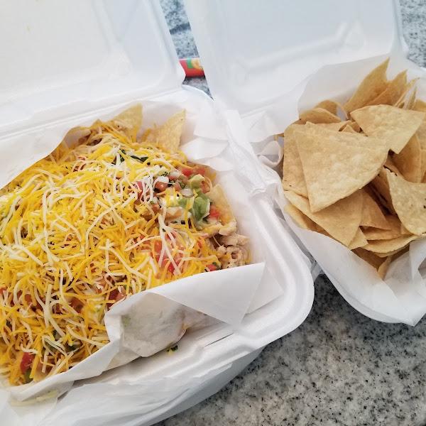 Chicken nachos. Chips are great!