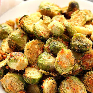 Garlic Parmesan Roasted Brussels Sprouts.