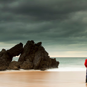One man, One Storm by Nuno Martins - Landscapes Beaches ( beach, sand, rock, storm, cascais, water )