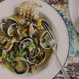 Clams Steamed with Corn, Cider and Soy