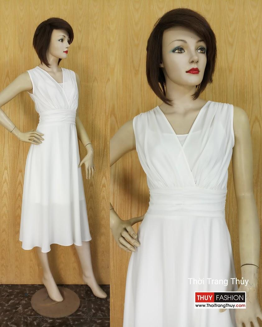 Váy xòe dự tiệc cổ chữ V vạt chéo xếp nhún V595