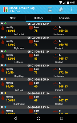 Blood Pressure Log Pro - screenshot