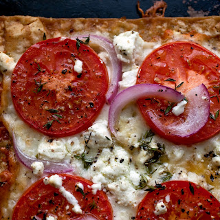 Lavash Pizza With Tomatoes, Mozzarella and Goat Cheese