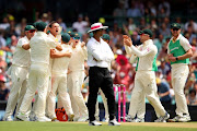 Josh Hazlewood of Australia celebrates a DRS decision taking the wicket of Alastair Cook of England for lbw during day one of the Fifth Test match in the 2017/18 Ashes Series between Australia and England at Sydney Cricket Ground on January 4, 2018 in Sydney, Australia.