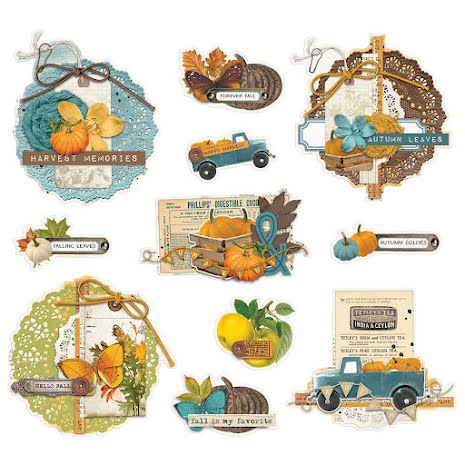 Simple Stories Chipboard Clusters 12/Pkg - SV Country Harvest