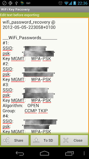 WiFi Key Recovery (needs root) 0.0.8 screenshots 4