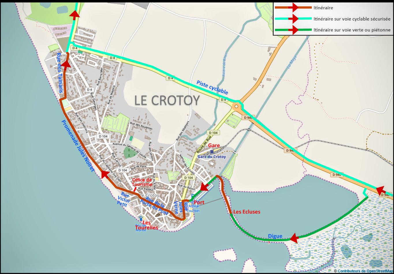 Carte  3 :  cheminement cyclable à suivre dans la ville du Crotoy  - Blog Les Balades à vélo autour de La Baie de Somme par veloiledefrance.com