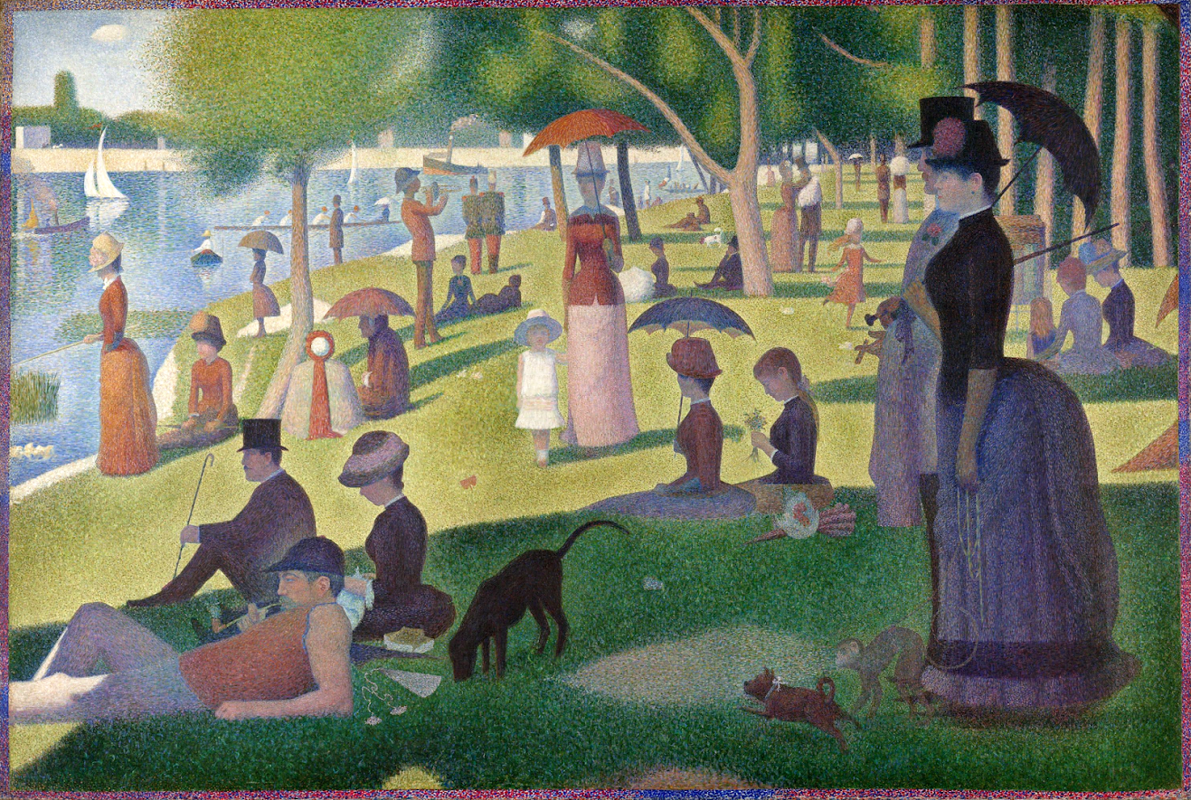 Seurat's exploration of color and pointalism. Explanation of the basics of color theory for students and educators #kellybagdanov #homeschool #homeschooling #arthistory #arthistoryresource #charlottemasonresource #classicalconversationresource #sonlightresource #storyoftheworldresource #aparthistory #arthistoryeducators