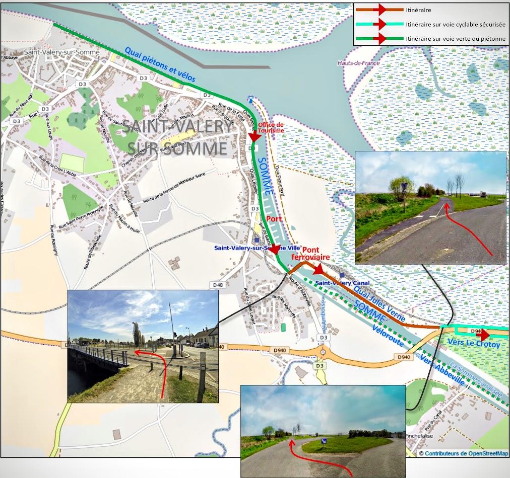 Carte 2 : Cheminement cyclable pour rejoindre le Crotoy depuis St Valery-sur-Somme - Blog Les Balades à vélo autour de La Baie de Somme par veloiledefrance.com