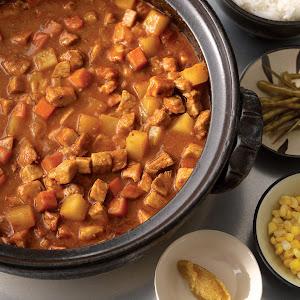 Japanese Pork Curry, Fermented Corn, Pickled Rat Tail Radishes, Lemon Koshu