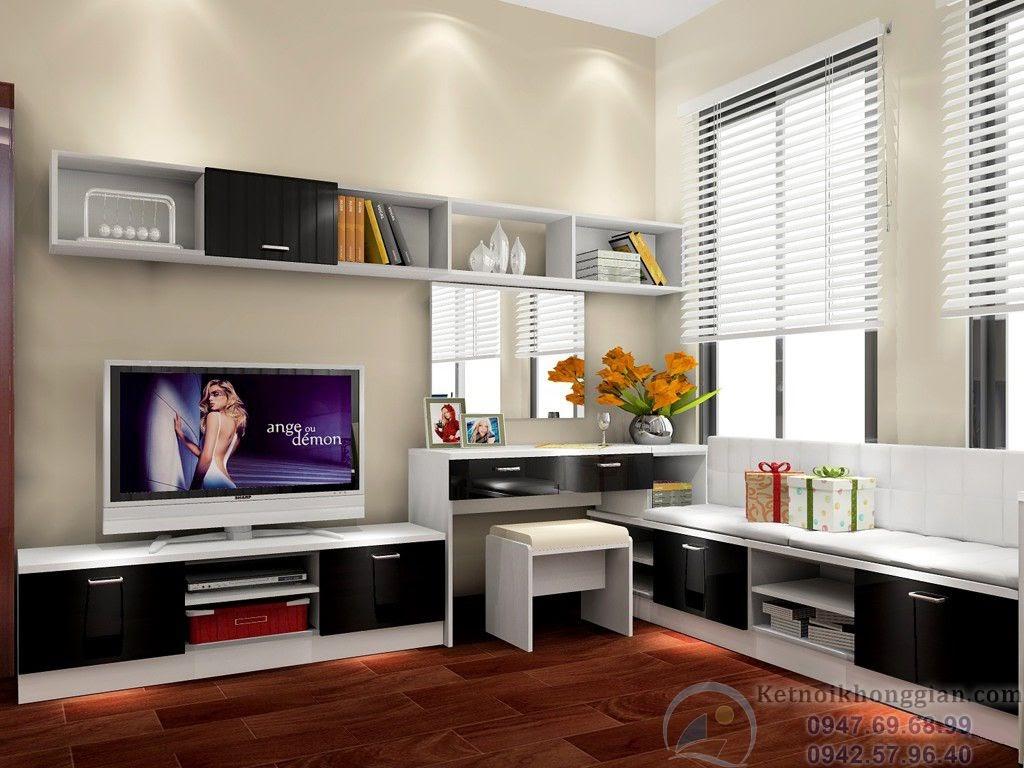 thiết kế phòng ngủ kết hợp phòng đọc sách thông minh