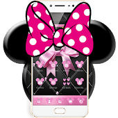 Pink Black Minny Bowknot Theme