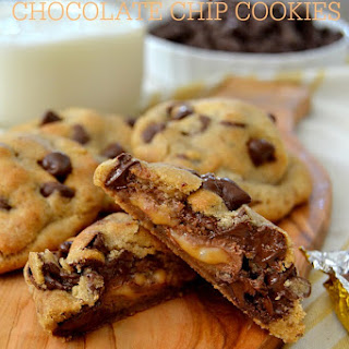 Thick & Chewy Brown Butter Caramel-Filled Chocolate Chip Cookies.