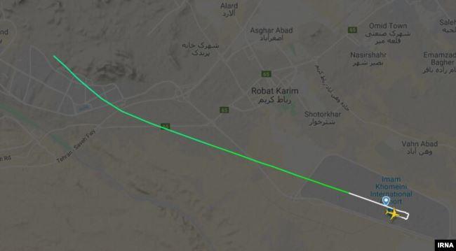 Дані відстеження польотів показують український авіалайнер в Ірані незабаром після зльоту поблизу Тегерану 8 січня