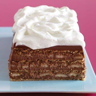 Chocolate, Banana and tennis biscuit Icebox Cake.