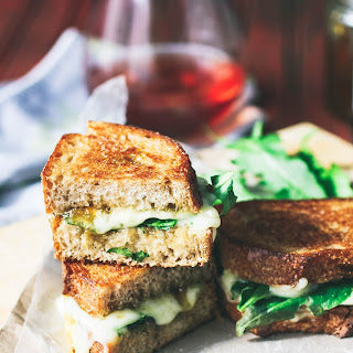 Grilled Brie, Fig Jam and Dandelion Greens Sandwiches Recipe