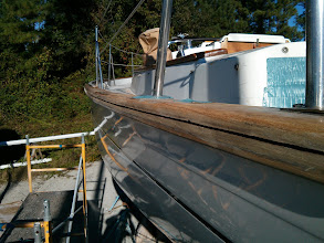 Photo: Port aft cap rail after using a circular saw to clean out and open up the failed seam