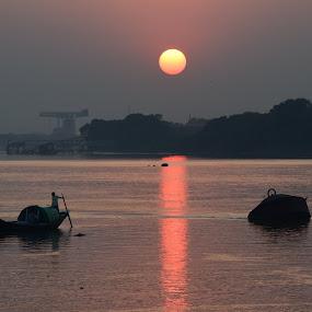 SUNSET PRINSEP GHAT by Sukamal Biswas - Landscapes Sunsets & Sunrises ( art, evening,  )