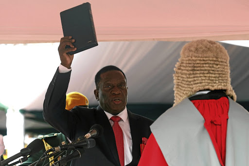 Emmerson Mnangagwa is sworn in as Zimbabwe's president in Harare, Zimbabwe.