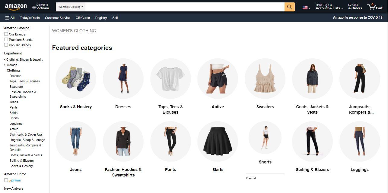 Quần áo trên Amazon đa dạng chủng loại