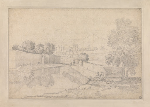 Italian Landscape with River Running Between High Wall at Left and High Bank at Right Towards a Small Town with Figures on the Banks