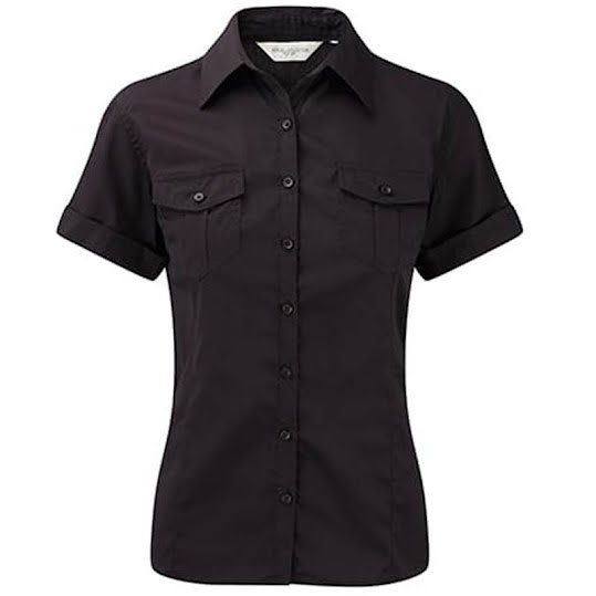 Russelcollection Roll Sleeve Shirt l black Stl, M