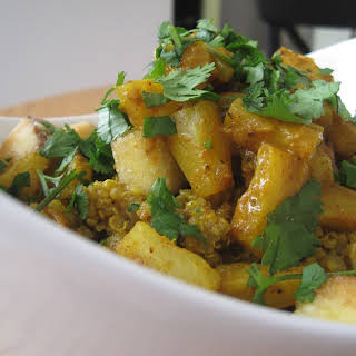 Curried Quinoa with Tofu, Pineapple & Almonds.