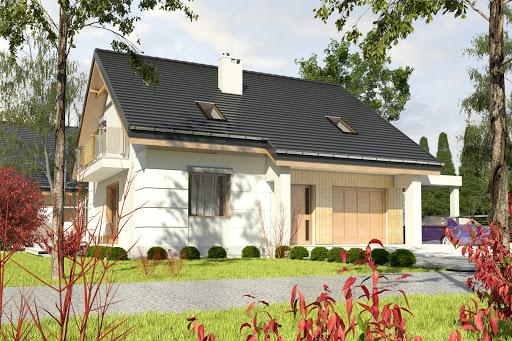 projekt Nowinka III z garażem i wiatą A1