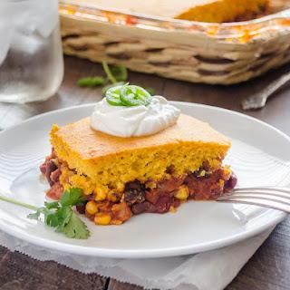 Three Bean Tamale Pie with Sweet Potato Cornbread Topping.