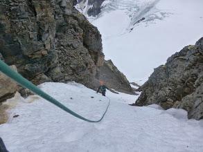 Photo: passage en glace dans le couloir de montée lors de l'ascension du Monacofjellet