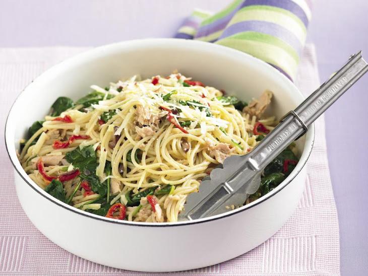 Spaghetti with Tuna and Spinach Recipe