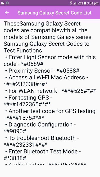 Complete Samsung Galaxy Secret Code – (Android Apps) — AppAgg