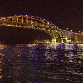 Bluewater Bridge at night by Donna Sparks - Buildings & Architecture Bridges & Suspended Structures ( water, color, night, bride )