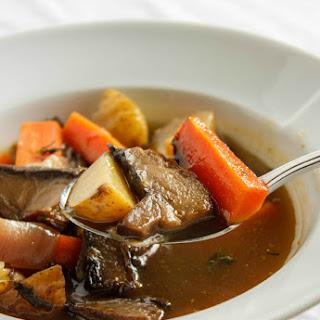 Portobello Mushroom Soup with Homemade Chicken Stock.