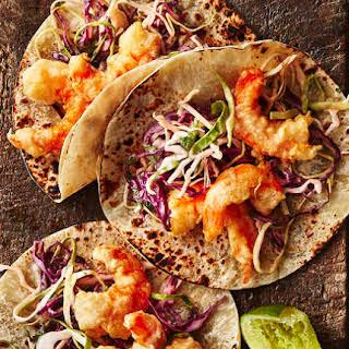 Baja Shrimp Tacos With Creamy Slaw.