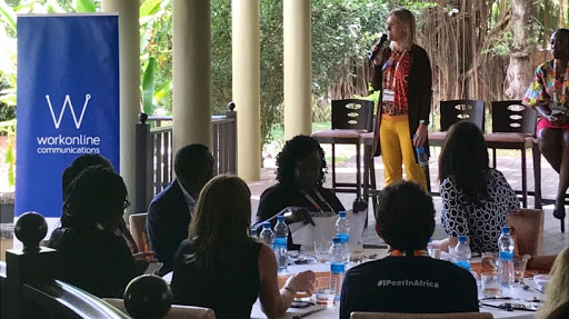 Joyce Dogniez, vice-president community development and engagement at ISOC, welcomes guests to WomenTechConnect at AfPIF2019 in Mauritius last week.