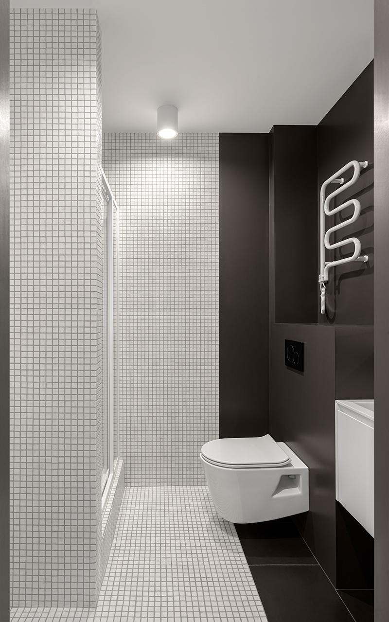 Плитка в ванной черно-белого цвета