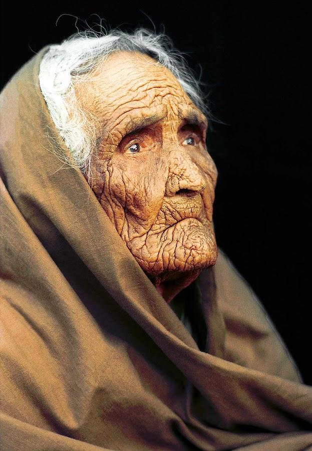 Sealed Lips by Sami Ur Rahman - People Portraits of Women ( wrinkles, studio portrait, old women, headcover, close-up )