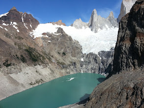 Photo: At the left of Lago De Los Tres you see this, another lake with view of another set of mountains and glaciers