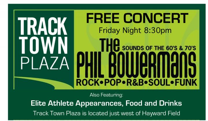 Free Concert Friday Night in Track Town Plaza