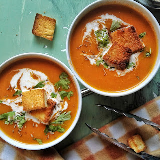 Roasted Tomato Soup with Herbed Croutons