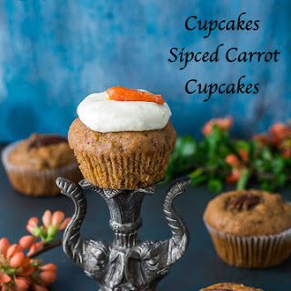Carrot Pecan Cupcakes | Moist Carrot Cake Cupcakes Recipe | Spiced Carrot Cupcakes With Cream Cheese Frosting.