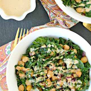 Smoky Kale and Chickpeas with Miso Peanut Drizzle.